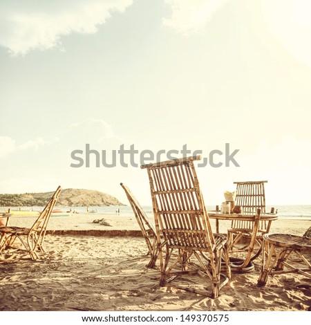 vintage palm beach background - stock photo