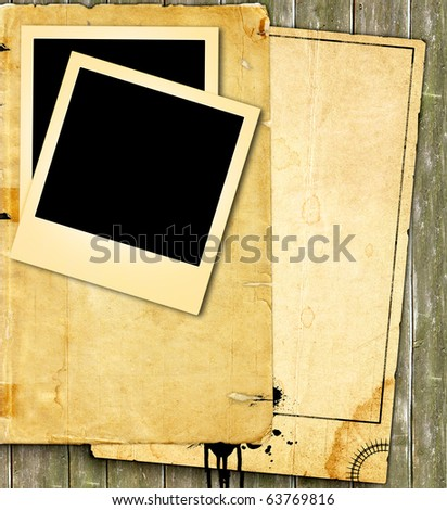 vintage paper and photo - stock photo