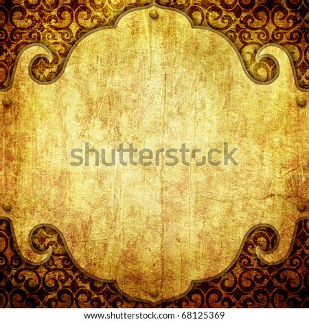 Vintage paper background with shabby ornament - stock photo