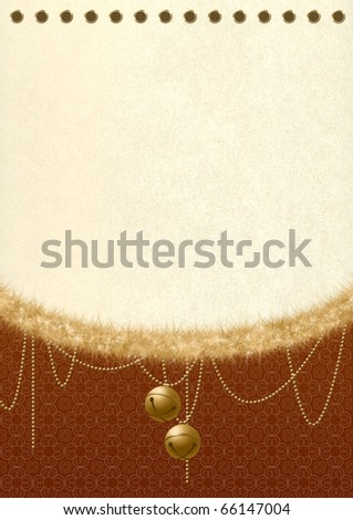Vintage paper background with tinsel and jingles - stock photo