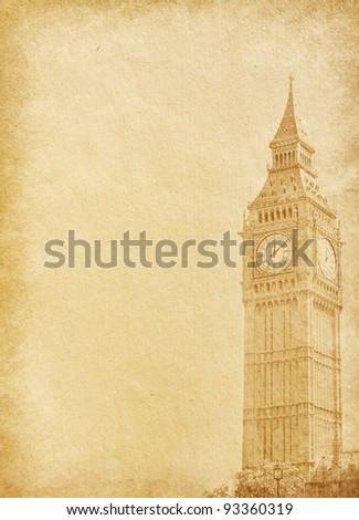 vintage  paper.  Big Ben, London - stock photo