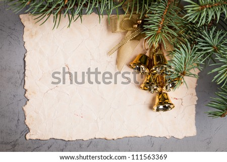 Vintage paper blank framed decorated branch of Christmas tree - stock photo