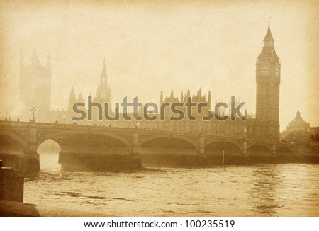 vintage paper. Buildings of Parliament with Big Ben tower in London UK view from Themes river - stock photo