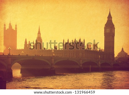 vintage paper. Buildings of Parliament with Big Ben tower. London,  UK - stock photo
