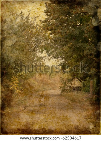 Vintage paper card with tree and road - stock photo