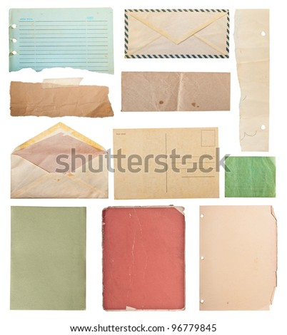 vintage paper collection, isolated in white background, clipping paths. - stock photo