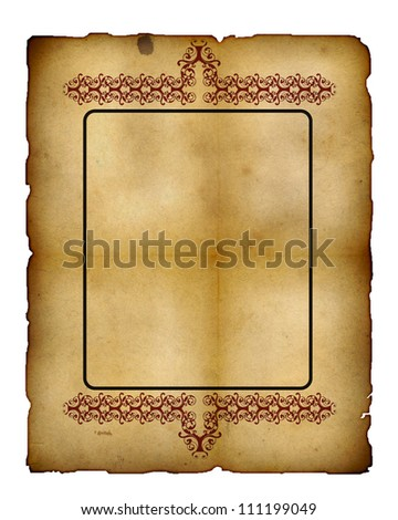 Vintage paper frame isolated on white , great grunge background for your projects with space for your text or image