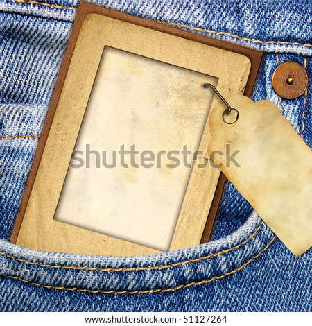 vintage paper frame with blank tag in jeans pocket from my denim series) - stock photo