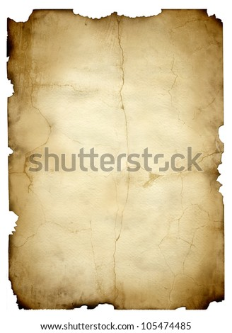 vintage paper isolated - stock photo