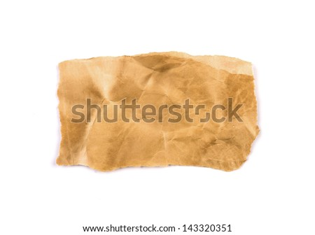 Vintage paper isolated on white background - stock photo