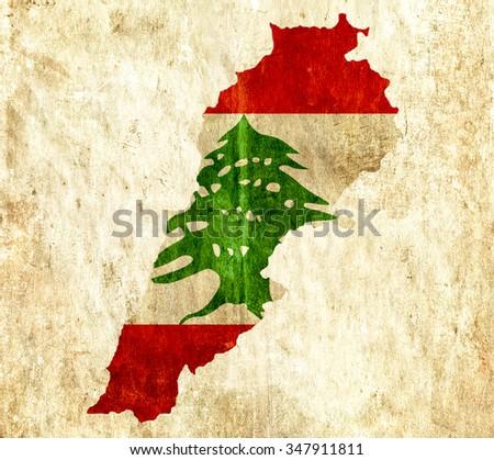 Vintage paper map of Lebanon - stock photo