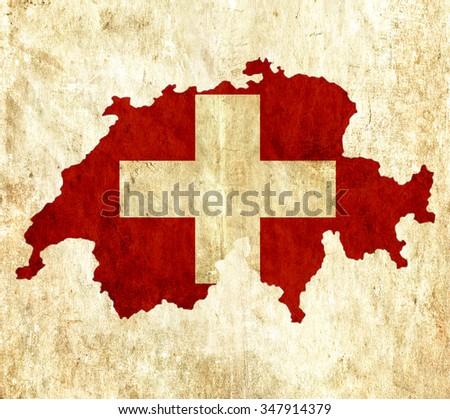 Vintage paper map of Switzerland - stock photo