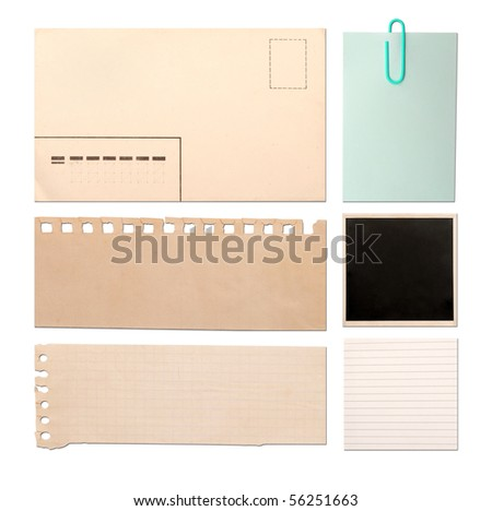 vintage paper objects isolated on white background - stock photo