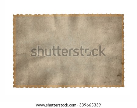 Vintage paper. Old photo frame isolated - stock photo