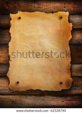 Vintage paper on distressed wood background