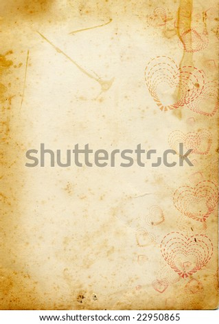 vintage paper page with symbols of St. Valentines day - stock photo