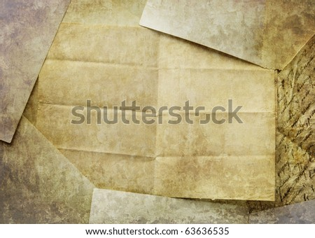 Vintage paper rumpled on table - stock photo