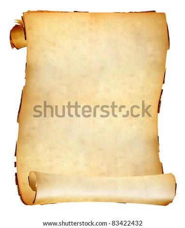 Vintage paper scroll with soft shades on white background. - stock photo