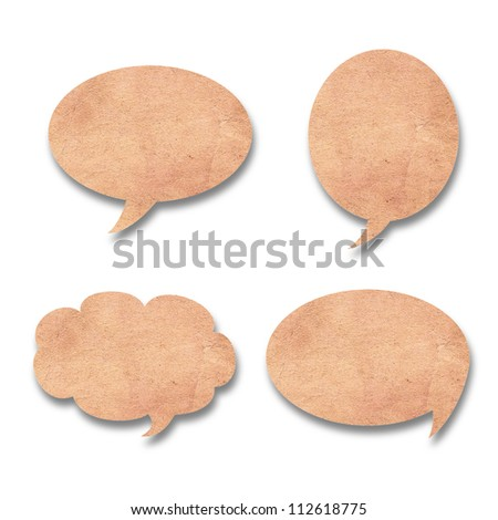Vintage paper shape as bubble speech isolated