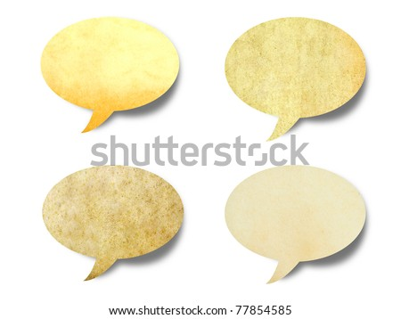 vintage paper shape as bubble speech isolated - stock photo