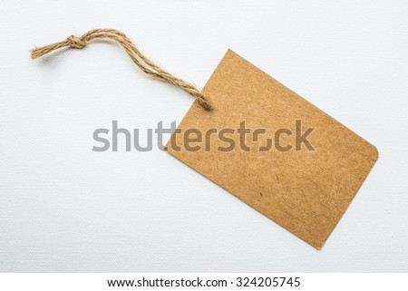 Vintage paper tag  on white background