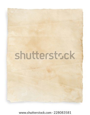 Vintage paper texture on white background.