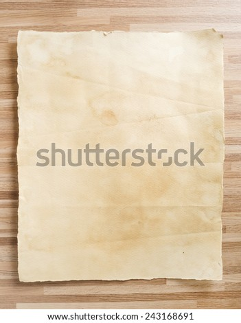 Vintage paper texture on wood texture background. - stock photo