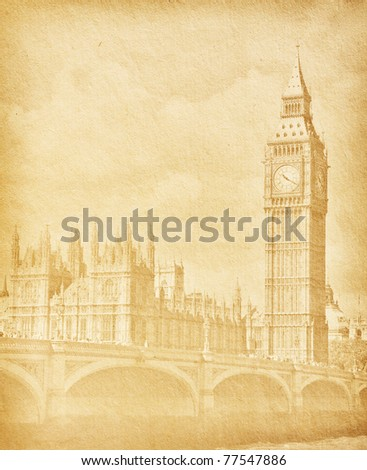vintage paper textures. Buildings of Parliament with Big Ben  tower in London UK . - stock photo