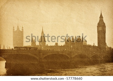 vintage paper textures. Buildings of Parliament with Big Ben  tower in London UK view from Themes river. aged paper texture. - stock photo