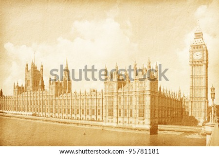 vintage paper textures. vintage background with Houses of Parliament with Big Ben  tower in London, UK . sepia - stock photo