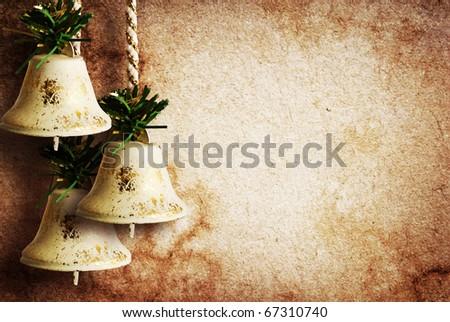 vintage paper textures with bells - stock photo