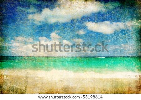 vintage paper - tropical sea - stock photo