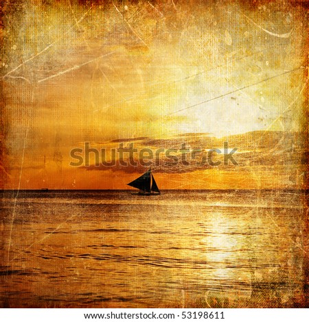 vintage paper - tropical sunset - stock photo