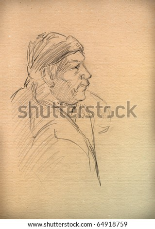 vintage paper with a sketch of a old man