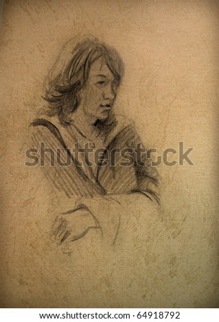 vintage paper with a sketch of a  woman