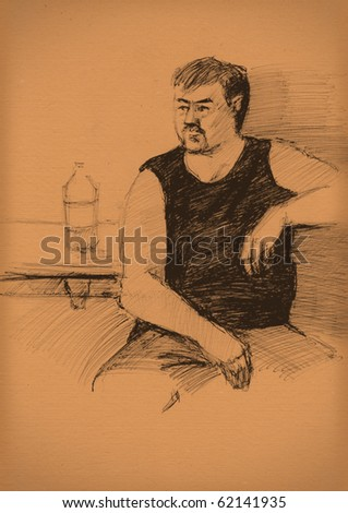 vintage paper with a sketch of man in a black T-shirt