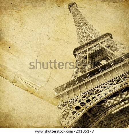 vintage paper with Eiffel tower and place for text - stock photo