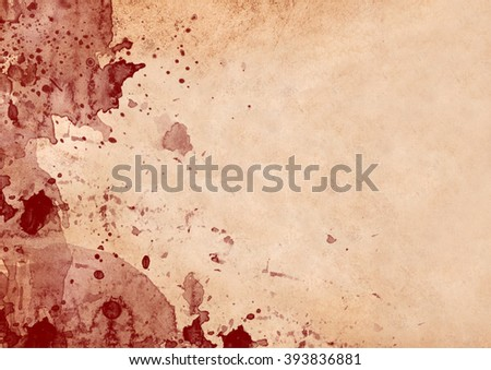 Vintage paper with red blood stains and drops
