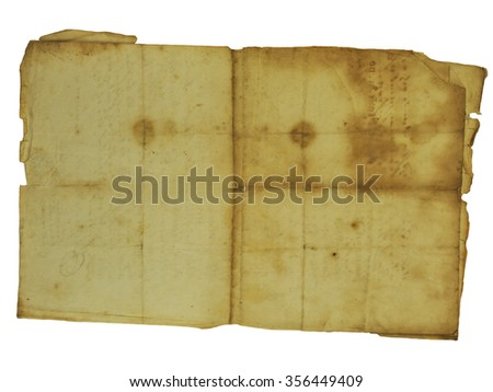 Vintage paper with rough edges isolated on white background - stock photo