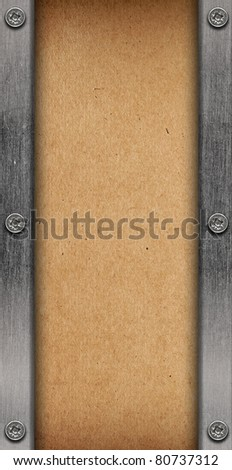 vintage paper with silver iron frame - stock photo