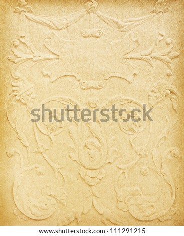 vintage paper with space for text in the shape of parchment surrounded by floral pattern. - stock photo