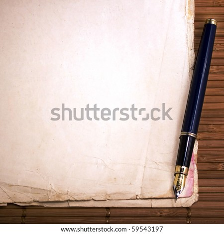 Vintage papers and pen - stock photo