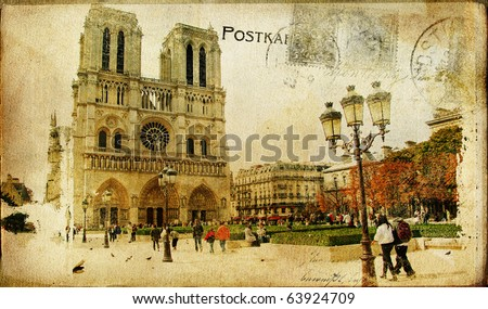 vintage Parisian cards series -notredame cathedral - stock photo