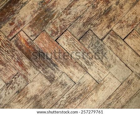 Vintage parquet floor - stock photo