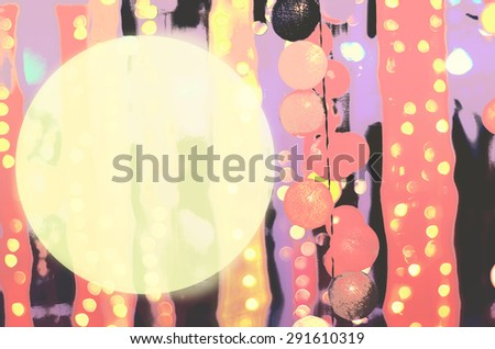 Vintage party night with circle of blank text box - stock photo