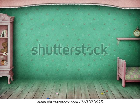 Vintage pastel background children's room. Computer graphics. - stock photo