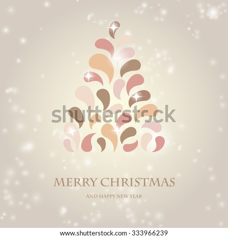 Vintage pastel colors design Christmas tree. Retro christmas design for Christmas poster, t-shirt or web design with retro fir tree - stock photo
