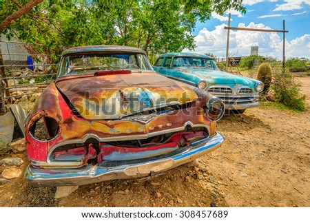 VINTAGE PATINA CARS-AUGUST 2015; vintage Desota with patina - stock photo
