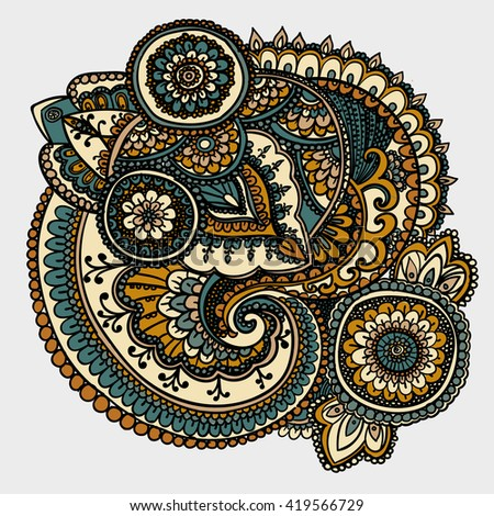 Vintage pattern based on traditional Asian elements Paisley. Gold and silver . - stock photo