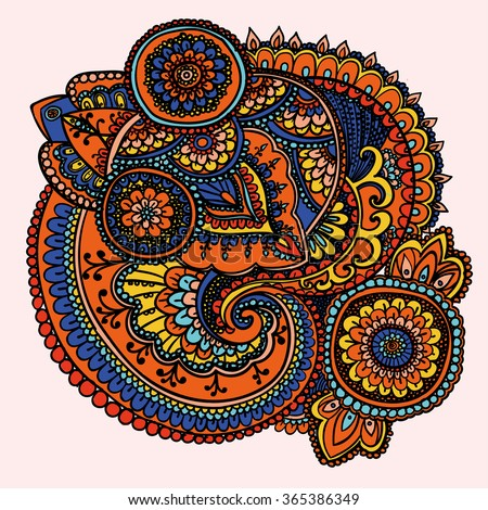Vintage pattern based on traditional Asian elements Paisley. Yellow , orange, blue. - stock photo